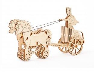 Wooden City Római harci szekér mechanikus modell, fa építőjáték