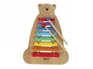 Xilofon Medve, baba hangszer fából, bébijáték