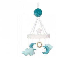 Zenélő ágyforgó kék holdacska, babaszoba kiegészítő (Jabadabado)