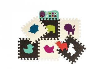 Zenélő állatos padló puzzle, fekete-fehér (B.Toys, játszószőnyeg, 6 hó-3 év)