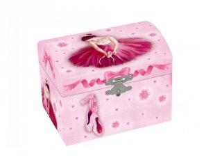 Zenélő ékszerdoboz Balerina rózsaszín ruhában, gyerekszoba kiegészítő