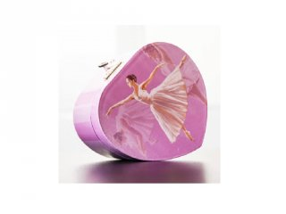 Zenélő ékszerdoboz szív alakú, Balerinás
