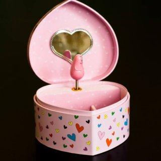 Zenélő ékszerdoboz szív alakú, Barbapapa