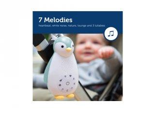 Zoe pingvin music box és éjjeli fény kék, gyerekszoba kiegészítő (ZA, bluetoothos)