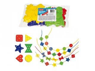 Zsinórra felfűzhető formák (QR, 144 db-os kreatív játék, 3-6 év)
