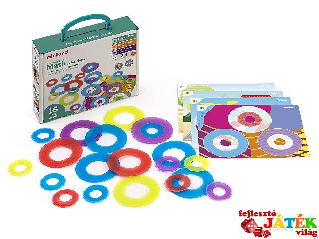 Korongos áttetsző Miniland játék a színek és méretek megkülönböztetésére (32160, 2-5 év)