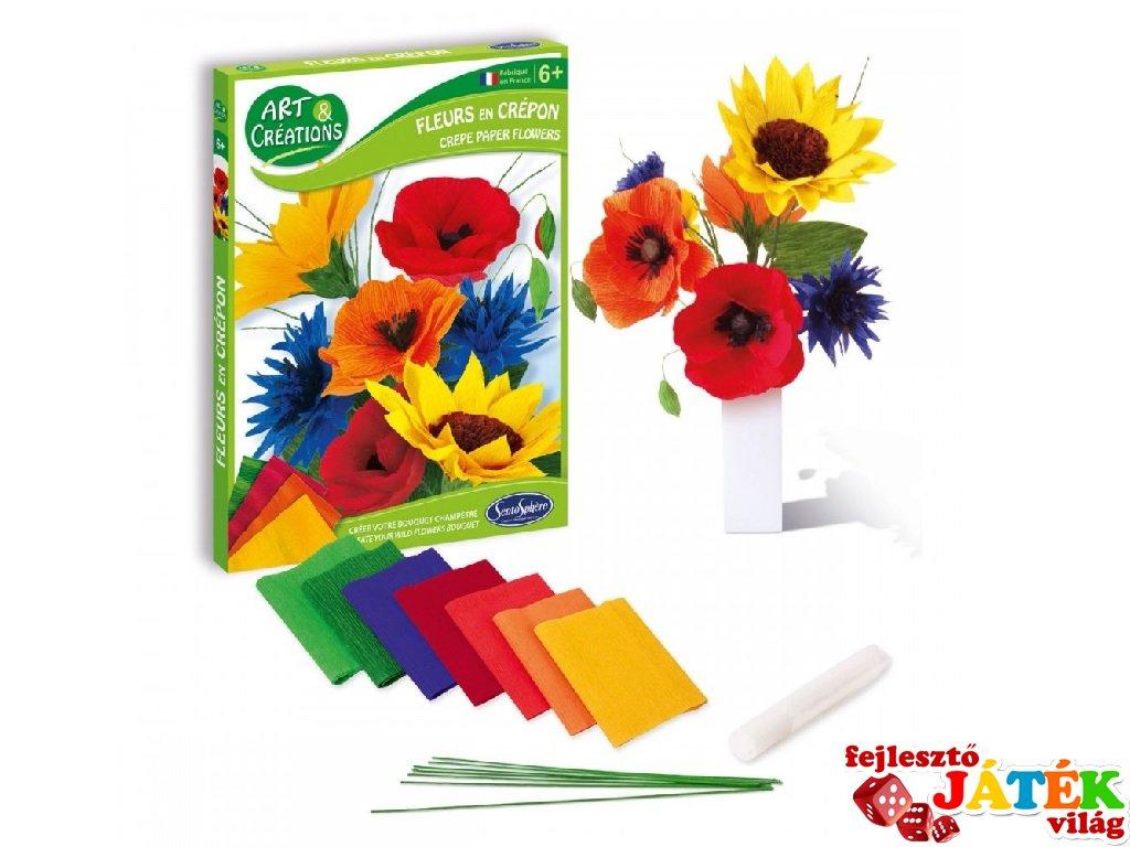 Krepp virág készítő, Mezei virágok (Sentosphere, kreatív készlet, 6-12 év)
