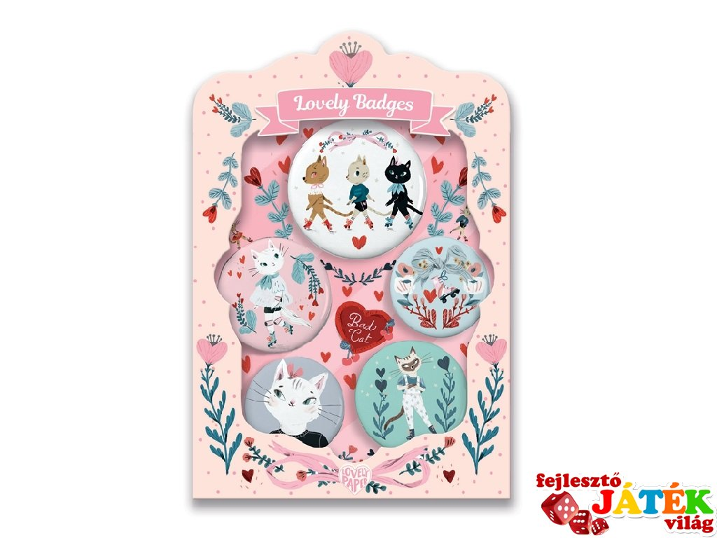 Lovely Badges Djeco kitűzők, cicák - 3850 (5 db)