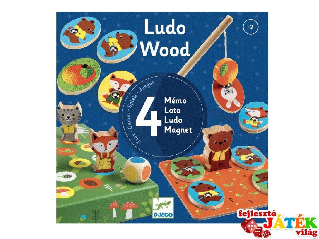 Ludo Wood, Djeco 4 az 1-ben fa társasjáték szett - 1628 (2-6 év)