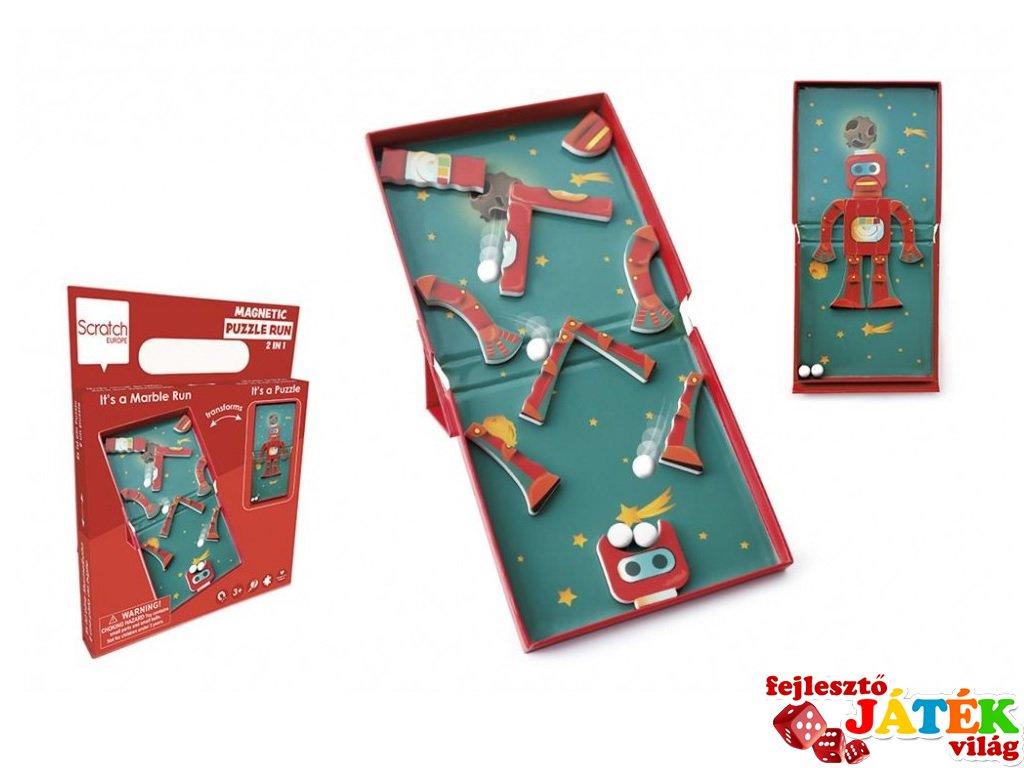 Mágneses puzzle és flipper Robotos, 2 az 1-ben ügyességi játék (Scratch, 3-8 év)