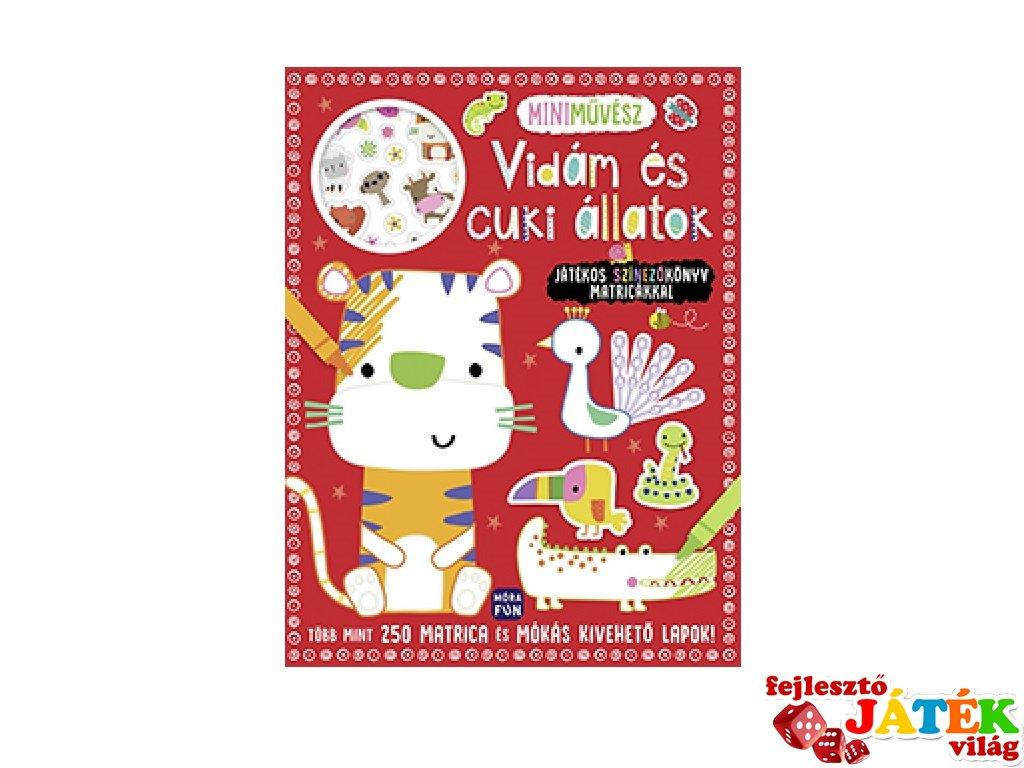 Mini művész Vidám és cuki állatok, színező könyv matricákkal (MO, 3-6 év)