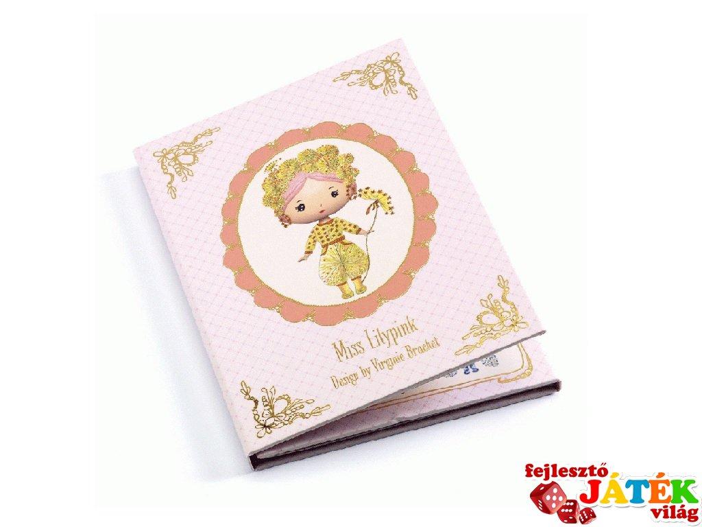 Miss Lilypink, Tynily újraragasztható matricás füzet, Djeco kreatív játék - 6980 (4-7 év)