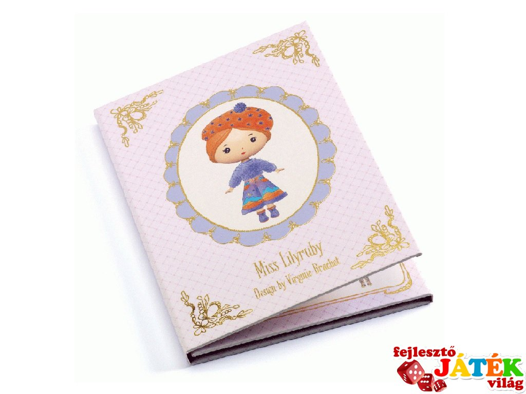 Miss Lilyruby, Tynily újraragasztható matricás füzet, Djeco kreatív játék - 6981 (4-7 év)