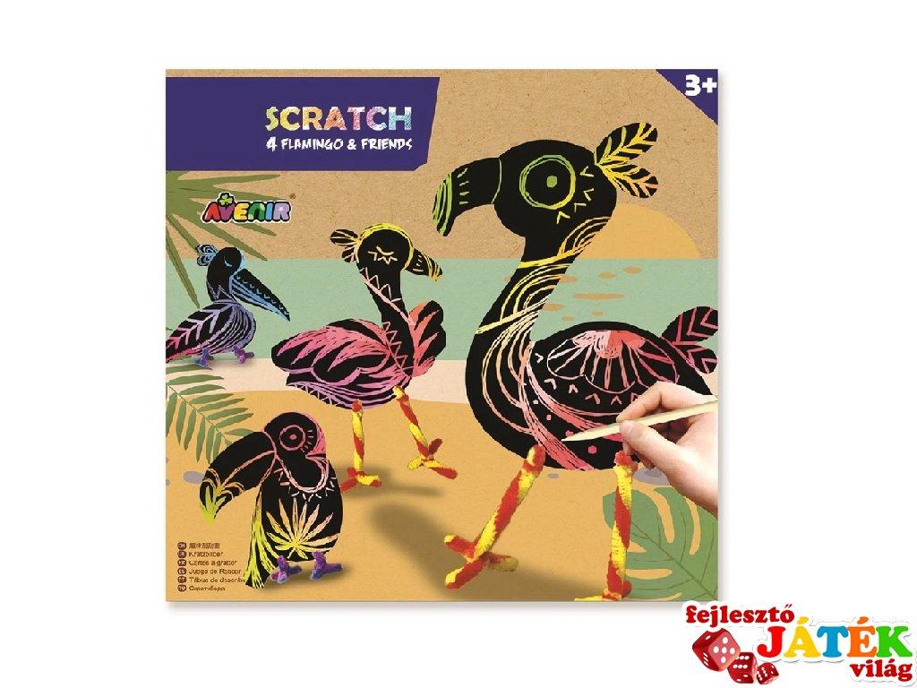 Modell készítés karctechnikával Flamingó, kreatív szett (Avenir, 3-7 év)