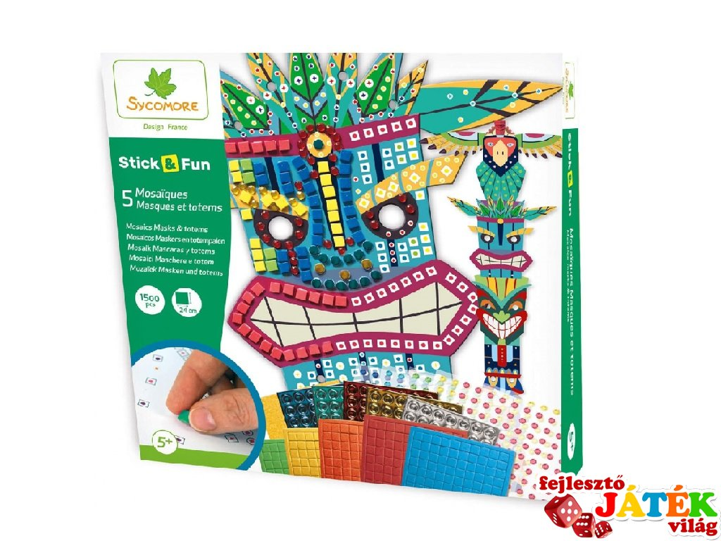 Mozaikkép készítés Maszkok és totemek, kreatív szett (Sycomore, 5-8 év)