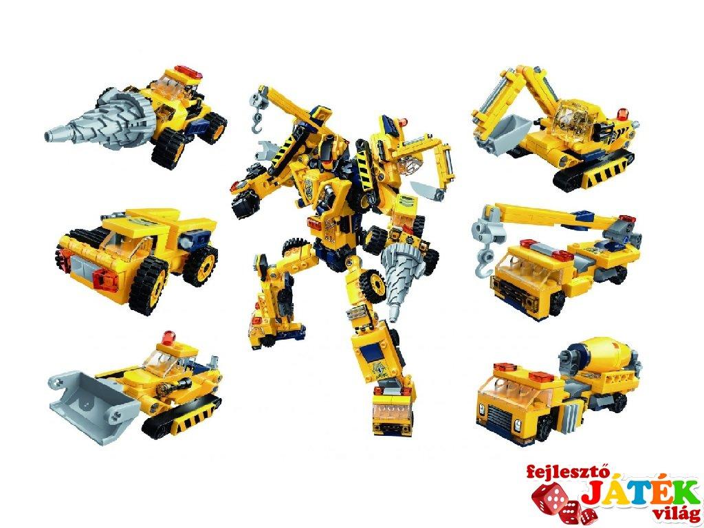 Munkagép robot, 6 az 1-ben Lego kompatibilis építőjáték készlet (QMAN, 1417, 6-12 év)