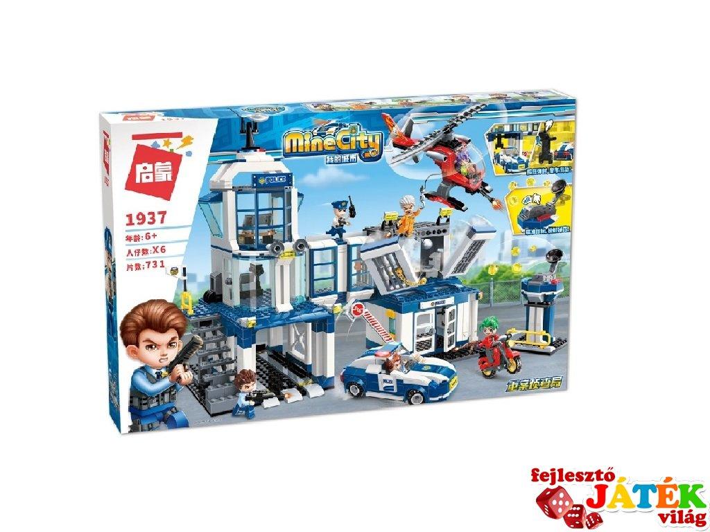 Nagy rendőr központ járművekkel, Lego kompatibilis építőjáték készlet (QMAN, 1937, 6-12 év)