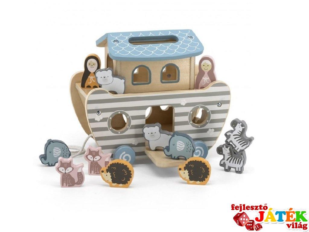 Noé bárkája, húzható fa készségfejlesztő játék, szerepjáték (FK, 2-6 év)