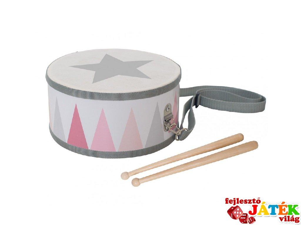 Nyakba akasztható dob pasztell rózsaszín, fa játékhangszer (JAB, 3-8 év)