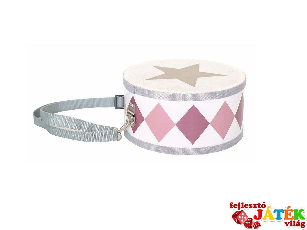 Nyakba akasztható dob pasztell rózsaszín, fa játékhangszer (Jabadabado, 3-8 év)