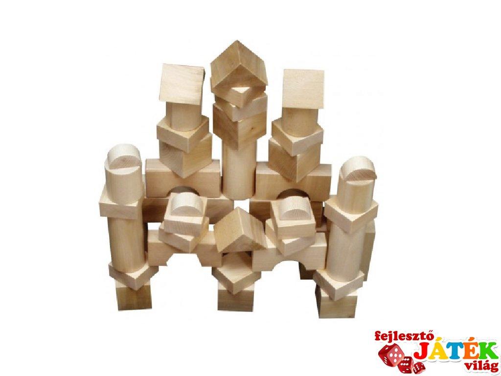 Óriás építőkocka 44 db-os készlet fából natúr 7 cm-es (FK, 3-7 év)