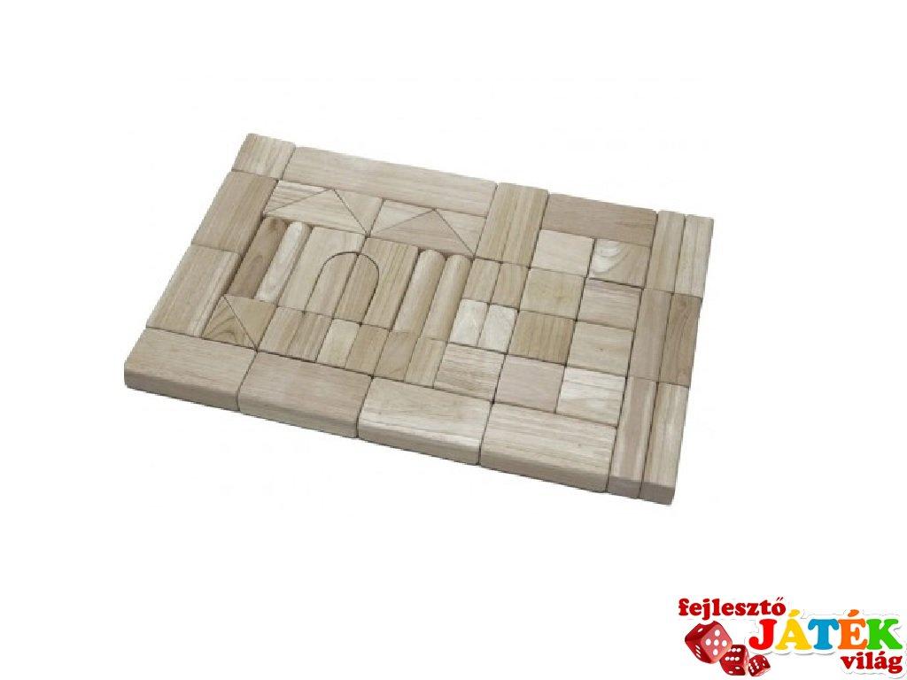Óriás építőkocka 52 db-os készlet fából natúr 3,5 cm-es (FK, 3-7 év)