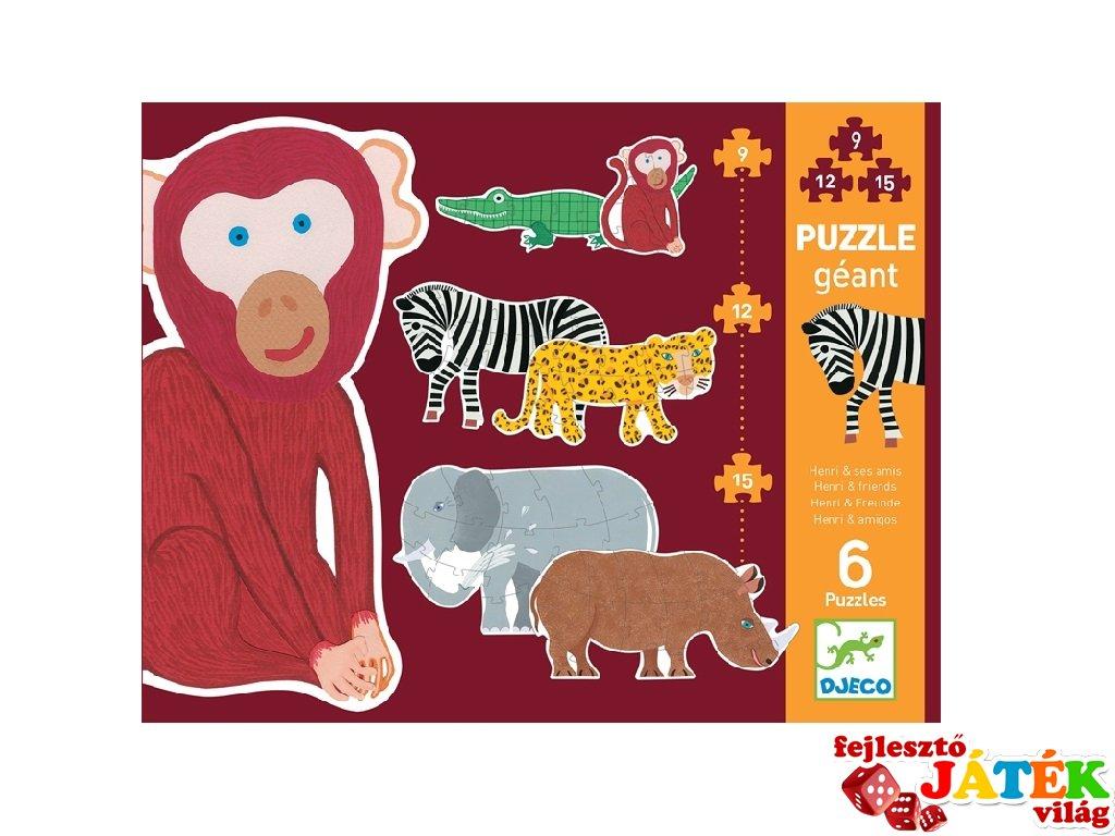 Óriás puzzle Szavanna állatai, Djeco vegyes darabszámú kirakó - 7147 (3-6 év)