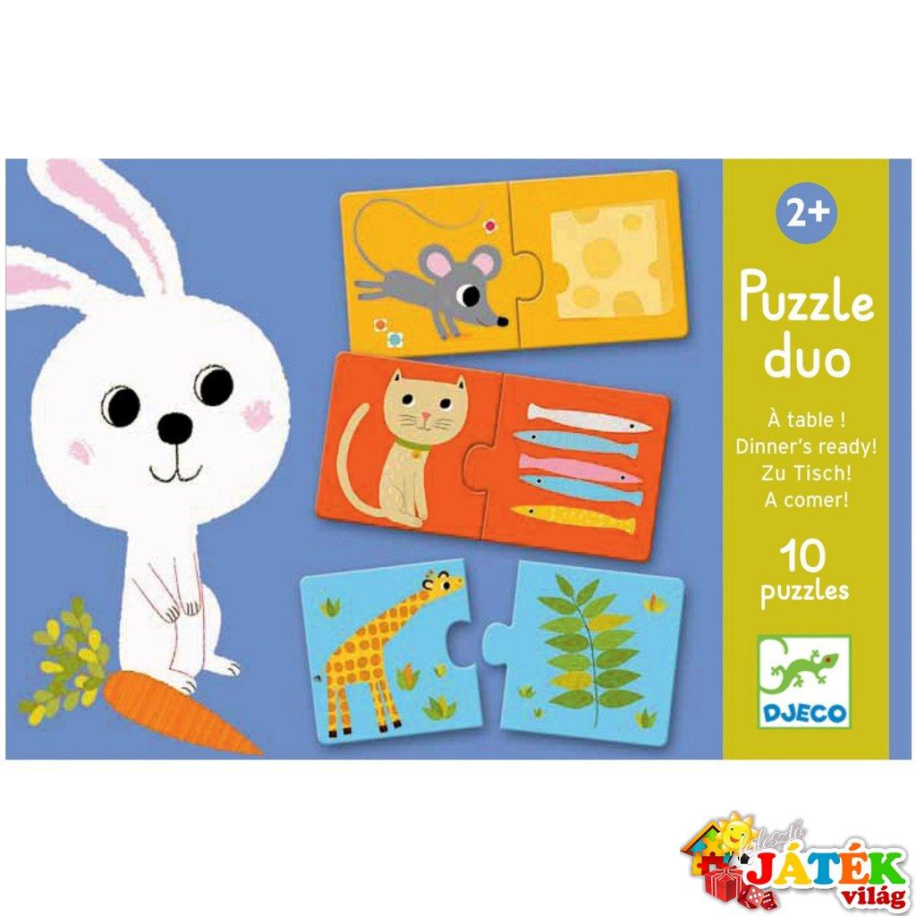 Párosító puzzle, Állatok és élelmeik (Djeco, 8166, 2 db-os kirakó, 2-5 év)