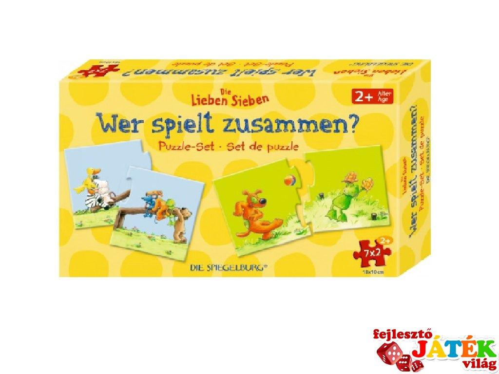 Párosító puzzle Ki kivel játszik?, Spiegelburg logikai játék (15732, 2-5 év)