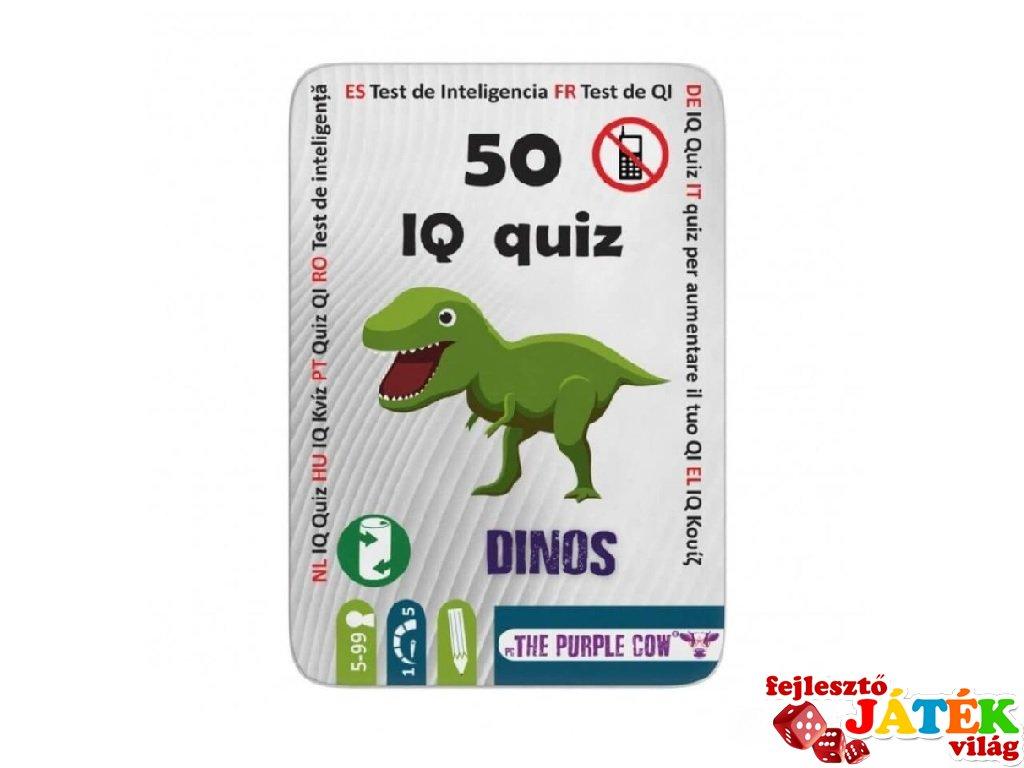PC 50 IQ kvíz Dinoszauruszok, foglalkoztató kártyák, Purple Cow utazójáték (4-7 év)