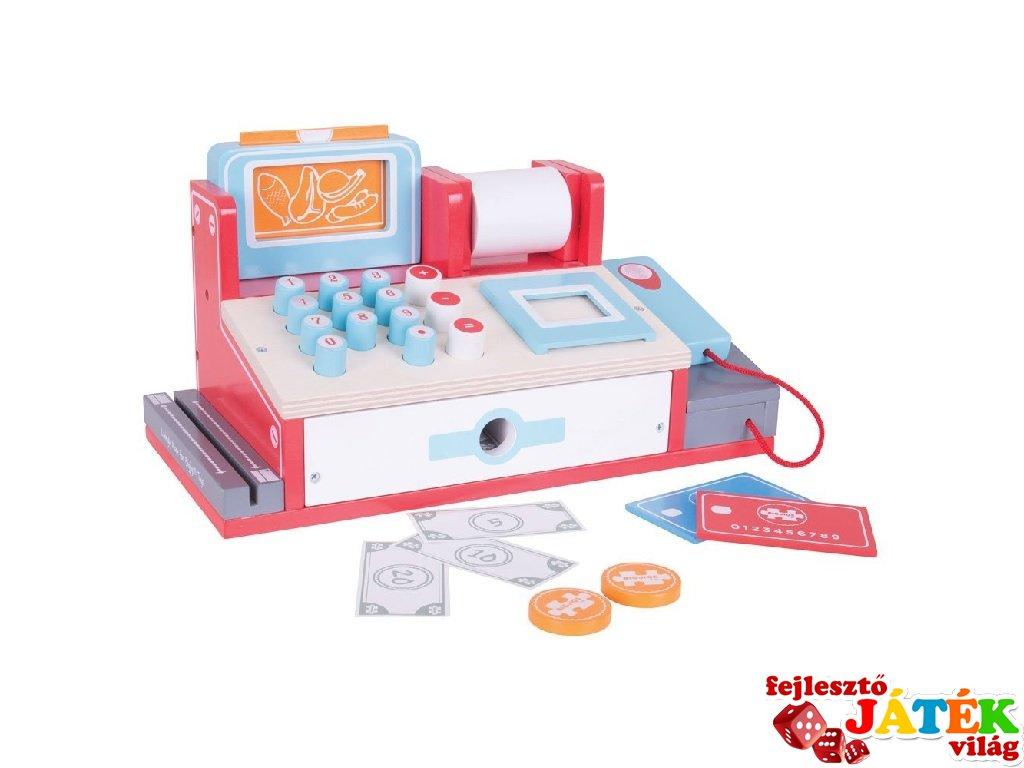 Pénztárgép scannerrel és játékpénzzel (Bigjigs, fa szerepjáték, 3-7 év)