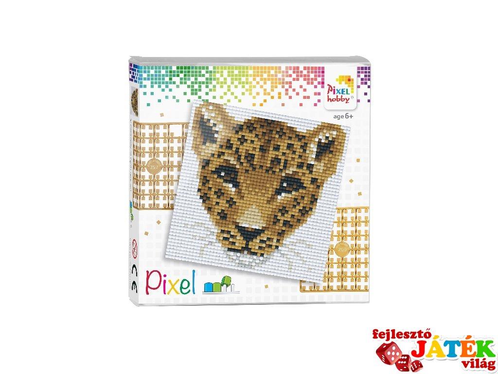 Pixelhobby képkészlet, Leopárd (44020, 4db 6x6-os alaplap + színek, 7-99 év)