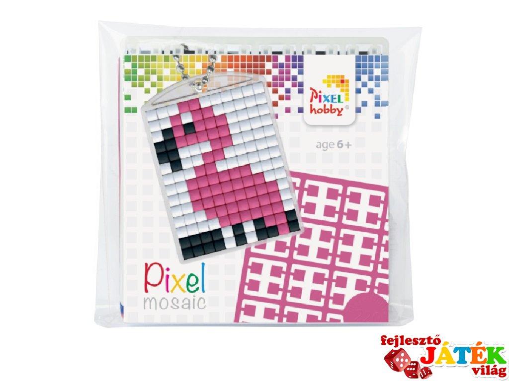 Pixelhobby Kulcstartó készlet, flamingó (23021, 1db kulcstartó alaplap + 3 szín, 7-99 év)