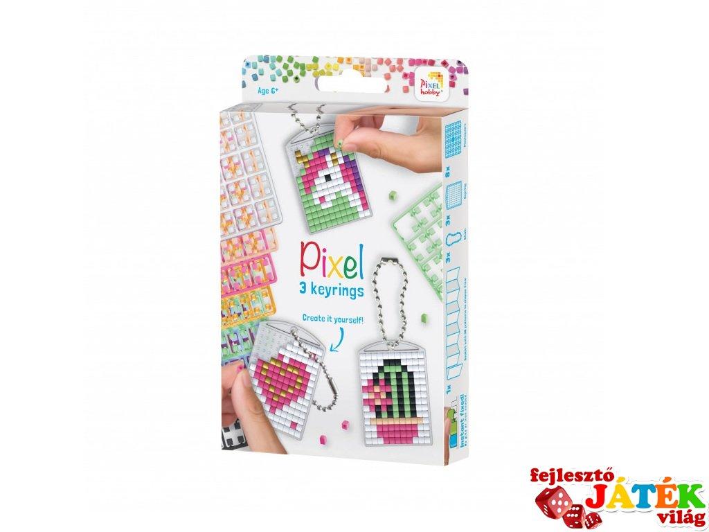 Pixelhobby Kulcstartó készlet lányos (20131, 3db kulcstartó alaplap + 8 szín, 7-99 év)