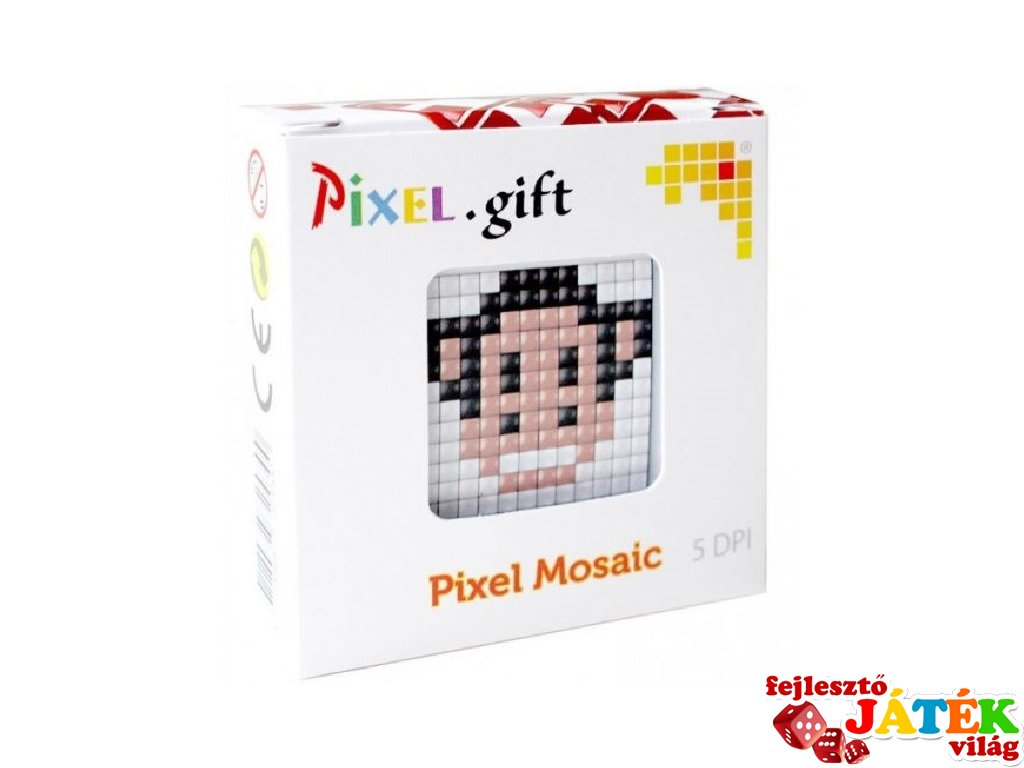 Pixelhobby, Mini Pixel XL készlet, majom (30204, 1db 6x6 cm-es alaplap, 3 szín, 4-6 év)