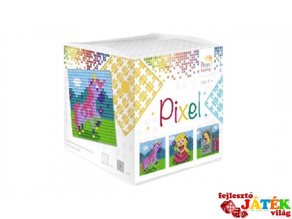 Pixelhobby, Pixel kocka, lányos, unikornis  (29003, 3db 6x6 cm-es képhez, 7-99 év)