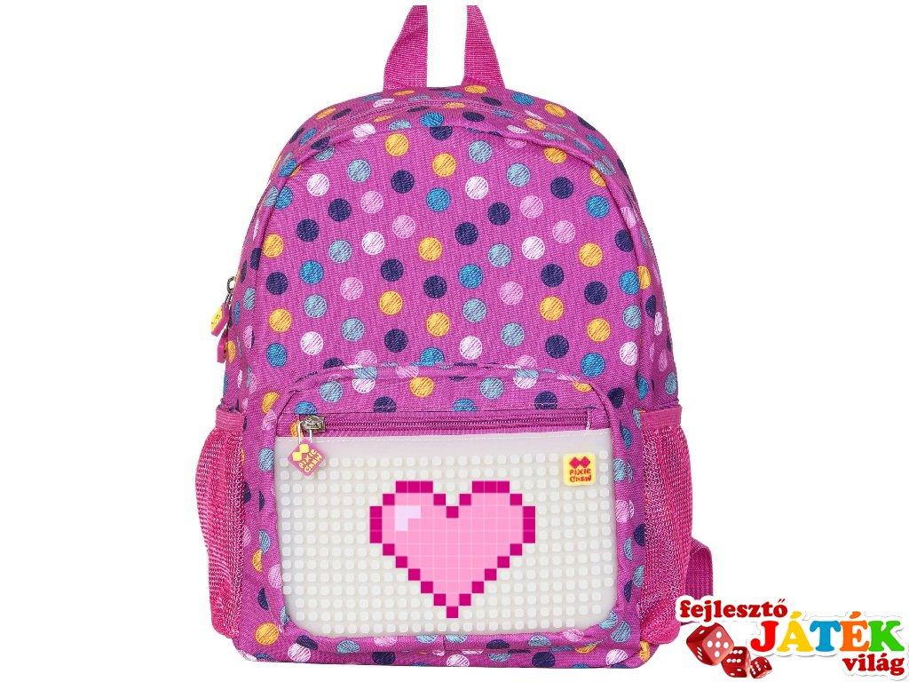 f664fc1f9030 Pixie Crew, egyedi mintájú pixel ovis hátizsák, rózsaszín pöttyös (PC,  gyerek kiegészítő, 3-7 év)
