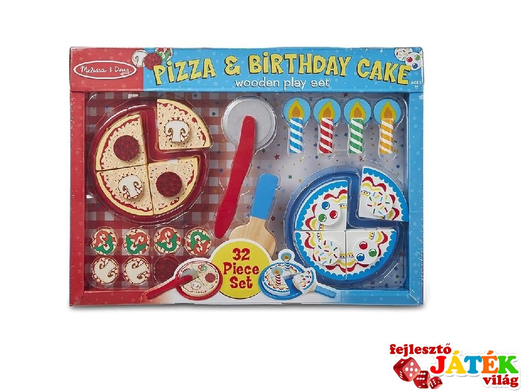 Pizza és szülinapi torta készlet, Melissa&Doug 32 db-os fa szerepjáték (18490, 3-7 év)