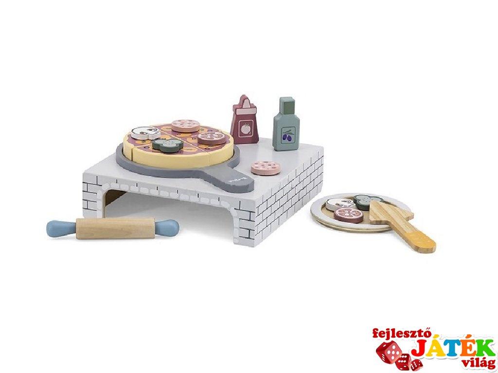 Pizzakészítő szett kemencével és kiegészítőkkel, fa konyhai szerepjáték (FK, 3-7 év)