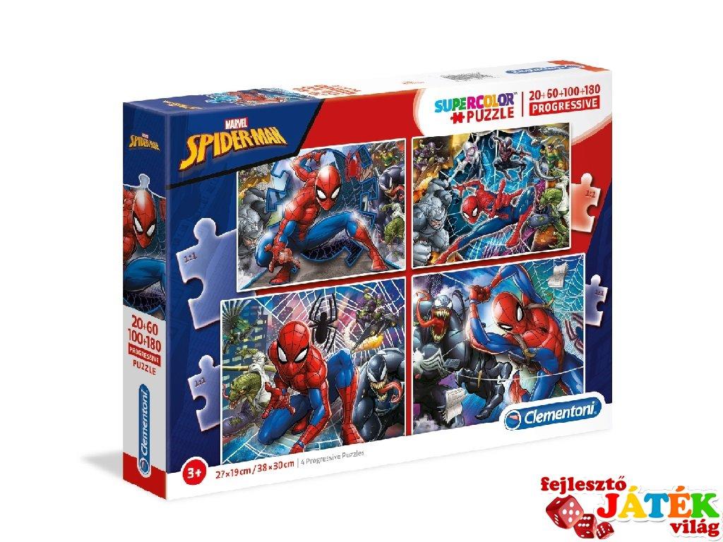 Pókember 4 az 1-ben Supercolor kirakó, 20-60-100-180 db-os puzzle (CLEM, 3-8 év)