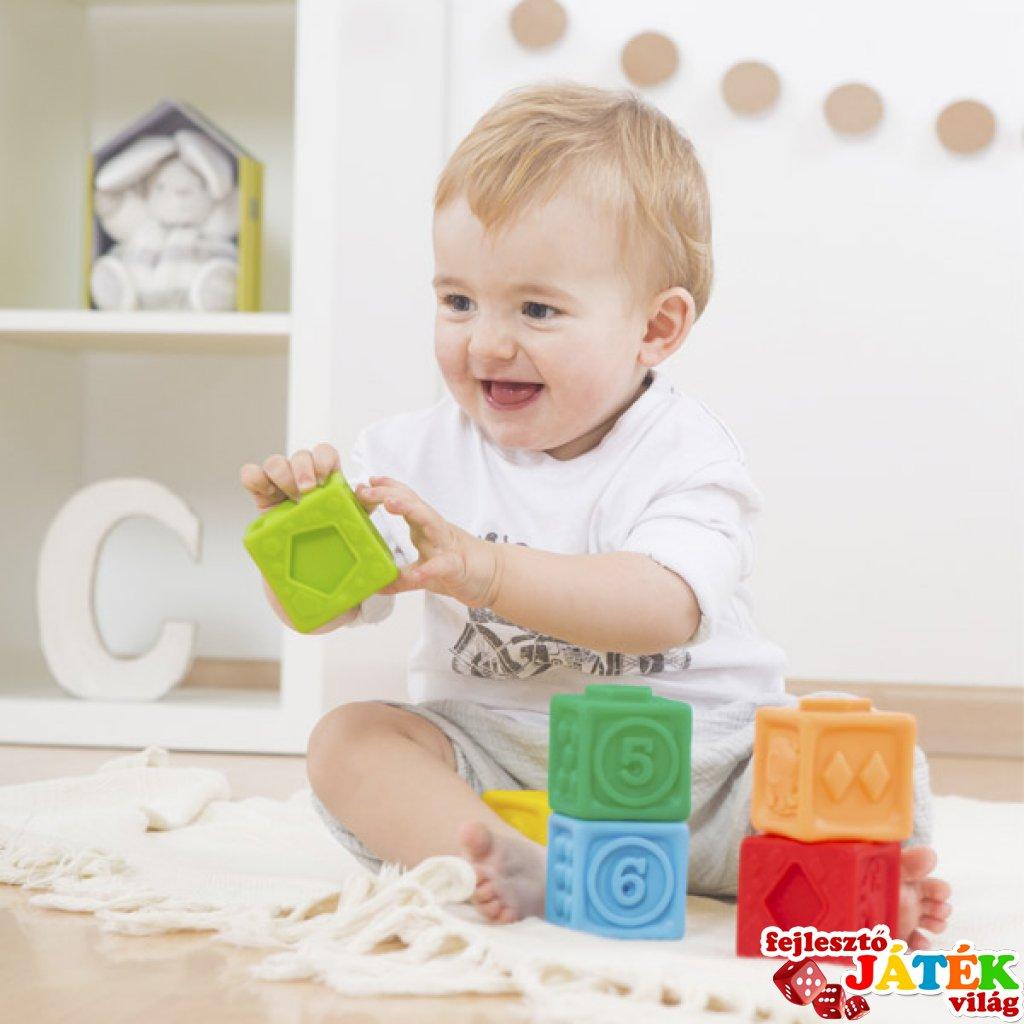 Puha építőkocka dombornyomott mintákkal, 6 db-os babajáték (18 hó-2 év)