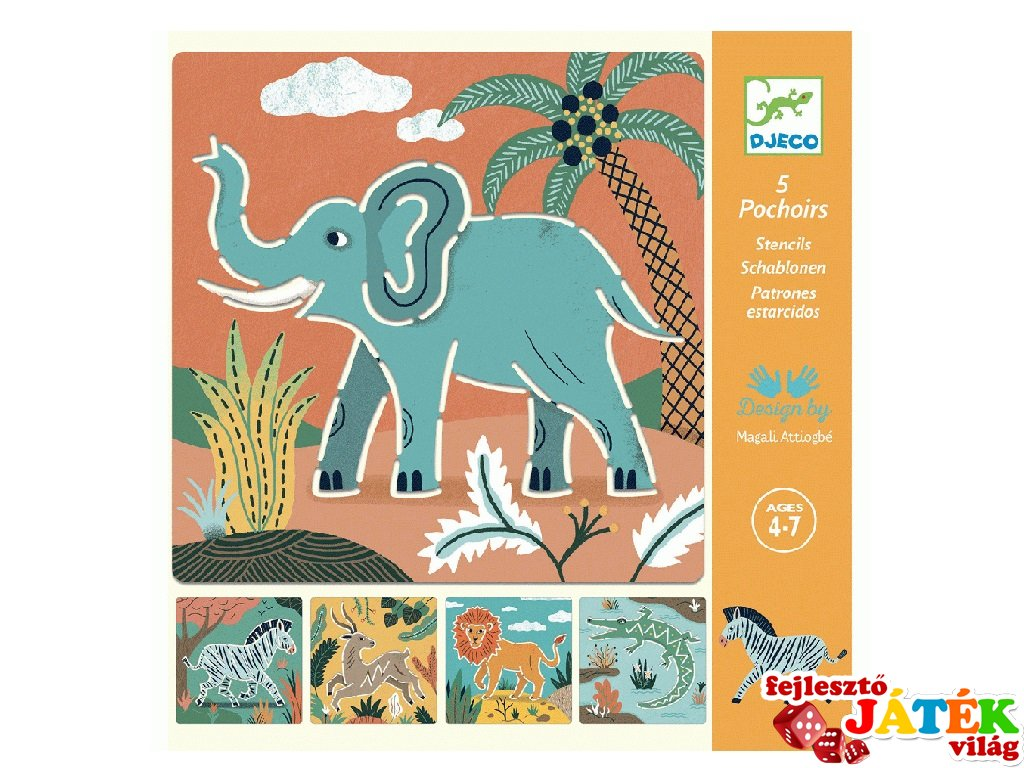 Rajzsablon Vadállatok, Djeco 5 db-os kreatív rajzkészlet - 8916 (4-8 év)