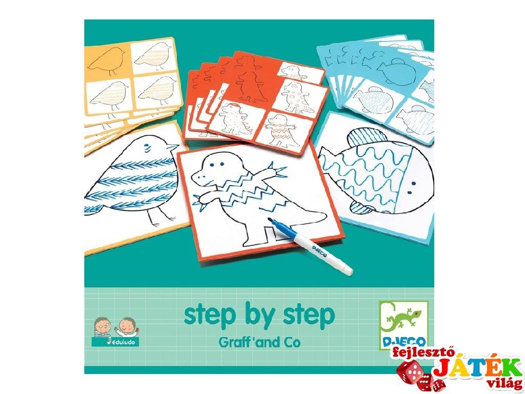 Step by Step, Vonalvezetés, Djeco rajztanító játék - 8324 (3-7 év)