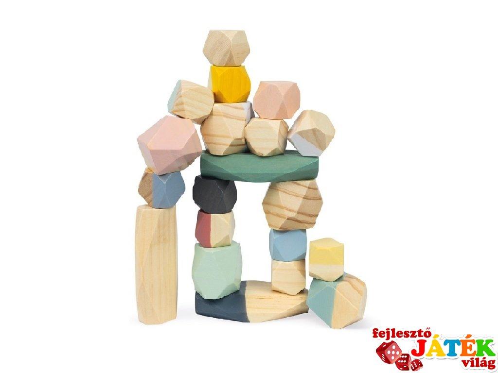 Sweet cocoon egyensúlyozás kövekkel, Janod fa készségfejlesztő játék (4401, 2-5 év)