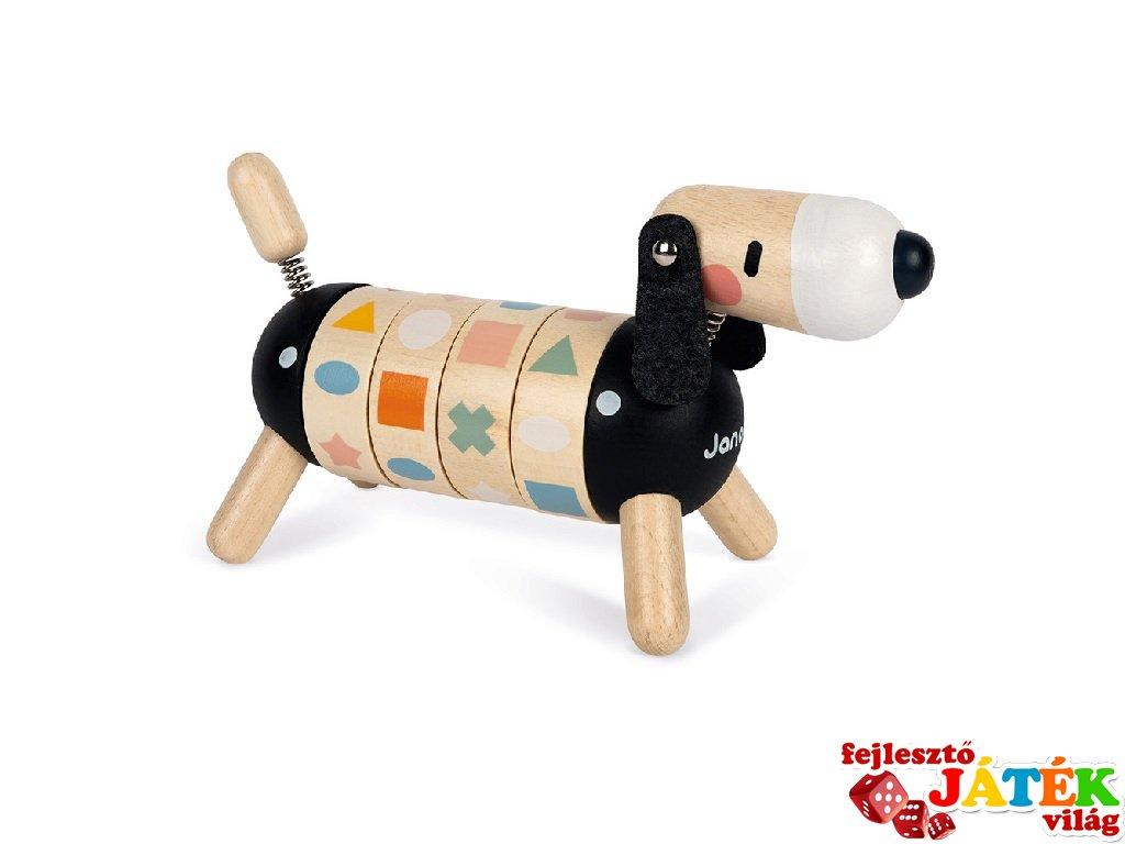 Sweet cocoon szín és forma párosító kutya, Janod fa készségfejlesztő játék (4421, 2-5 év)