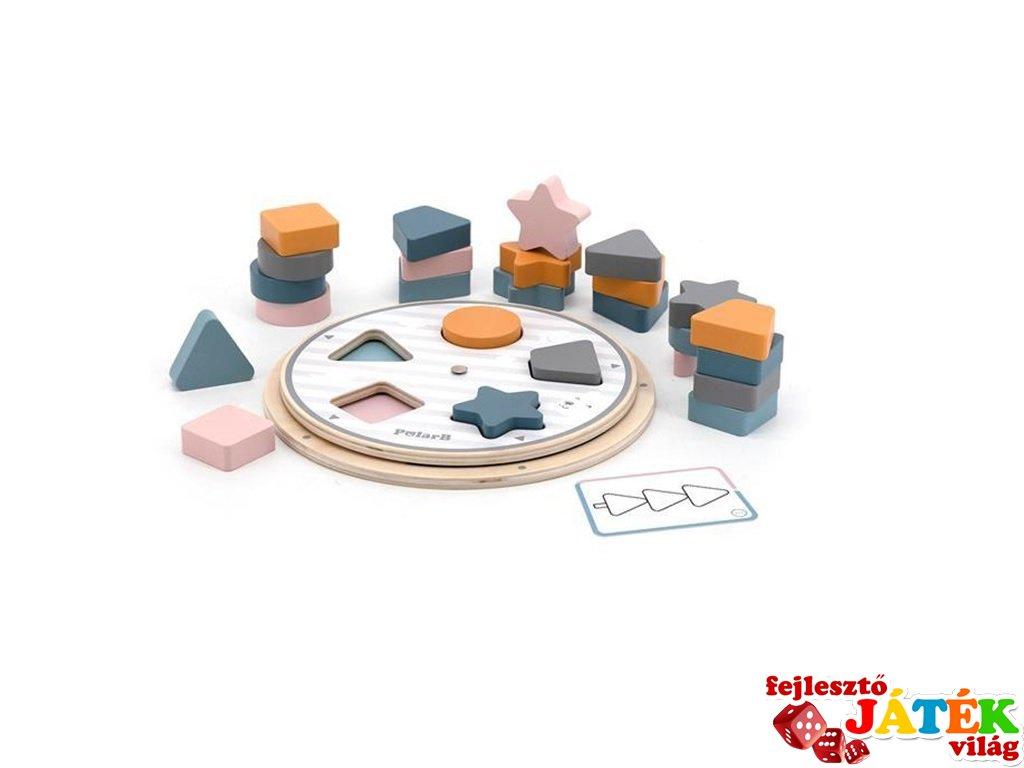 Szortírozós játék 5 fajta formával és feladatlapokkal, logikai fajáték (FK, 2-5 év)
