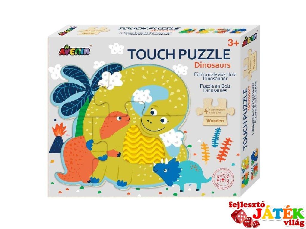 Tapintós puzzle, dínók, 4 db bébi formakirakó fából (Avenir, 2-4 év)