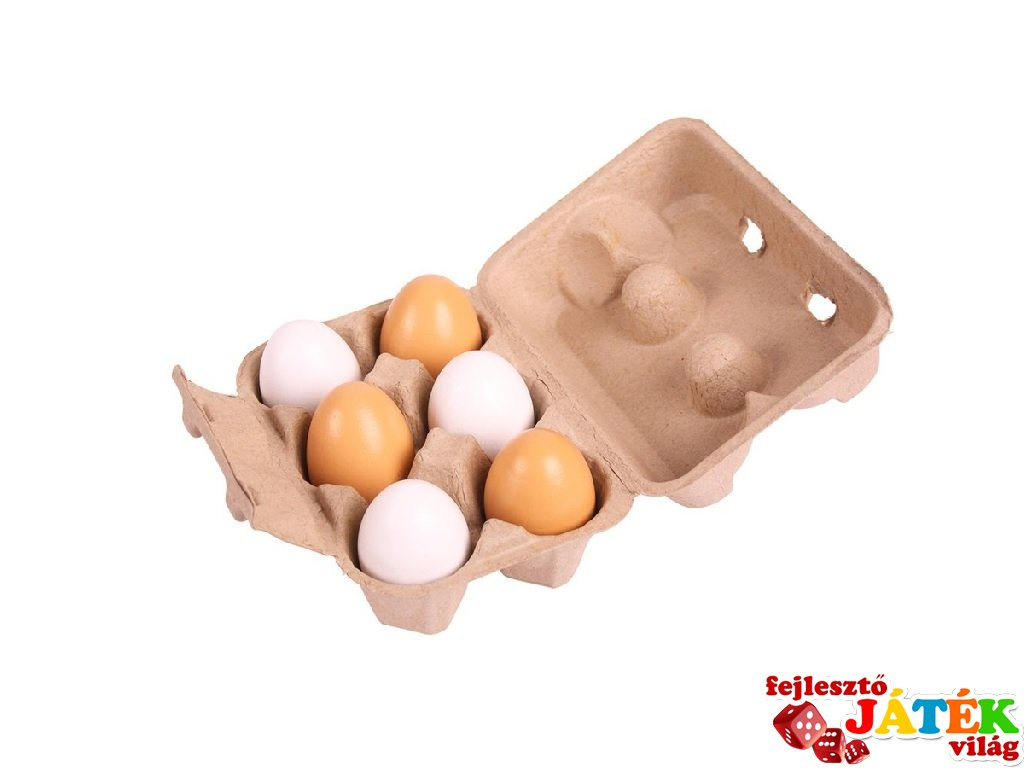 Tojások a tojástartóban (Bigjigs, 6 db-os konyhai fajáték, 3-7 év)