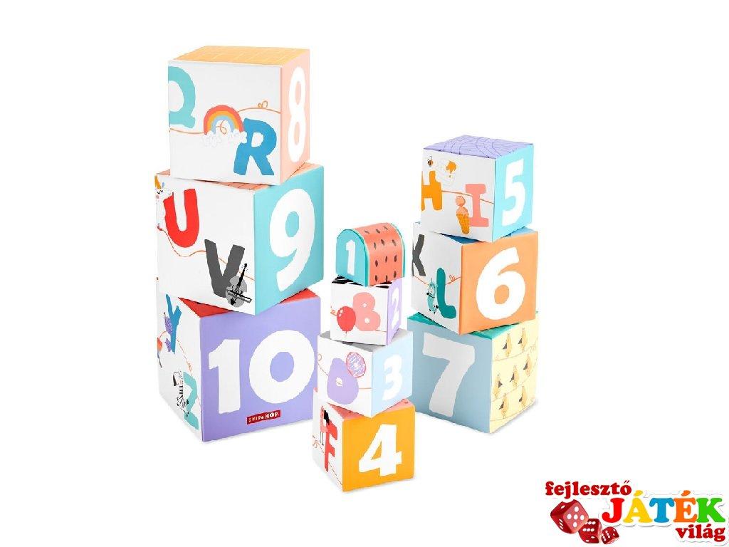 Toronyépítő kocka ABC, Skip Hop bébi építőjáték (1-5 év)