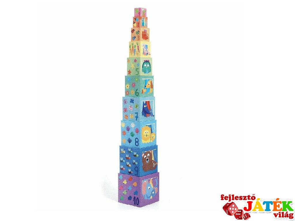 Toronyépítő kocka Szivárvány, Djeco 10 db-os bébi építőjáték - 8510 (0-3 év)